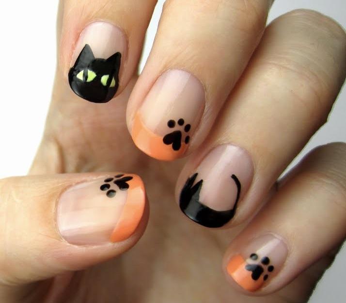 Fekete macskás köröm Halloween-re!